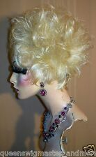 Drag Queen Wig Short Sassy Amanda in Light Bleach Blonde Sprayed Teased Out