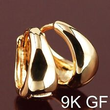 Smooth 9K Real Yellow Gold Filled Womens Hoop Earrings .F2157