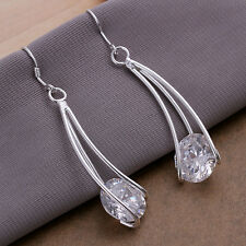 Lowest price wholesale solid silver Lab Diamond dangle earrings +box DE22