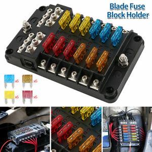 Blade Fuse Box 12 Way Distribution Bar Bus Boat Car Kit Marine Holder 12V/32V UK