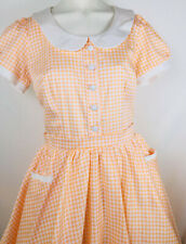 M Pinup Girl Couture Gingham Check Peter Pan Collar Full Skirt Dress Coral