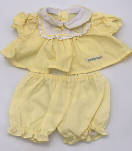 Vintage Cabbage Patch Kids Yellow Dress & PANTIES Bloomers Clothes Cpk