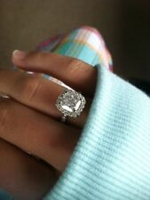 Certified 3.20Ct Cushion Cut White Diamond Engagement Halo Ring 14K White Gold
