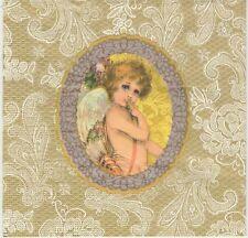 2 Serviettes en papier Cadre Ange Doré - Paper Napkins Angel & Lace Gold