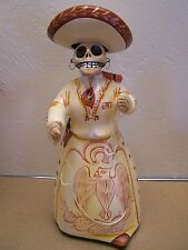 Clay Day of the Dead Lupita Doll - White Charra, Mexican Cowgirl, Tonala, Mexico