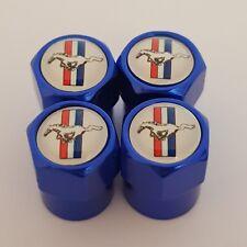 Mustang Azul Coche Válvula Casquillos de polvo de Rueda de Aleación Todos Los Modelos