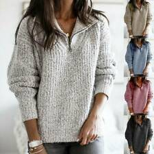 Women's Knitted Sweater Pullover Ladies Zip V Neck Baggy Long Sleeve Jumper Tops