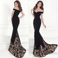 Womens Ladies Off Shoulder Lace Fishtail Long Dress Formal Party Wedding Dresses