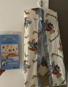 Blue Jean Teddy Bear Stick Ups & Diaper Caddy Bin Holder Baby Infant Room Decor