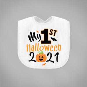 My First 1st Halloween 2021 Baby Bib Orange Pumpkin Bats Fancy Dress Bib