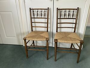 antique pair of chairs Rush Seats Spindle Backs