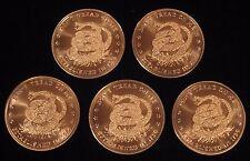 """5 x 1 oz Copper Rounds - """"Don't Tread on Me..."""" - .999 copper (Cu-104)"""