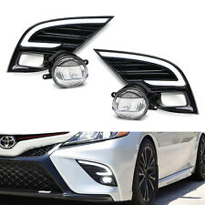 JDM-Spec LED Fog Light Kit w/ White/Amber LED DRL Bezels For 18-20 Camry SE XSE