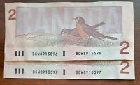 2 Sequential x 1986 $2 Bank of Canada Notes - Prefix BGW - Circulated