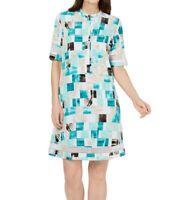 Alfani Womens Dress Classic Green Size 6 Shift Geometric Print Crochet $99 253