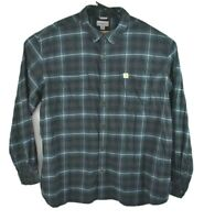 Carhartt Men's Gray Blue Plaid Heavy Cotton Flannel Shirt Relaxed Fit Size 3XL