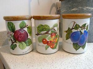 "3 x Vintage Portmeirion Pomona 5"" Storage Jar Goddess of Fruit Plum Apple Cherry"