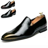 Mens Leather Formal Dress Shoes Pointed Toe Slip On Loafers Wedding Oxfords Size
