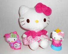 """HELLO KITTY Sanrio 8"""" Plush Pink Top Polka Dot Skirt & 2 Figures Cake Toppers"""