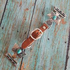 Western Thunderbird Apple Watch Leather Bands  Burnished Silver and Turquoise Co