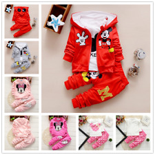 Toddler Baby Boys Girls Cartoon Mickey Hooded Coat/Tops/Pants Kids Clothes Sets