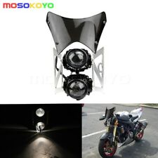 Motorcycle Streetfighter Twin Dual Headlight E-marked Projector Motocross Bike