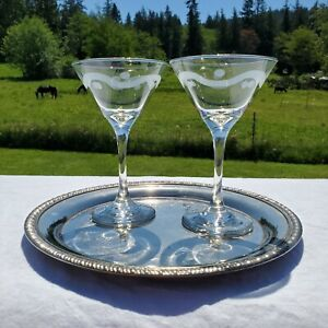 Vintage Libbey Glass Mini Martini Cocktail Glasses etched set of 2