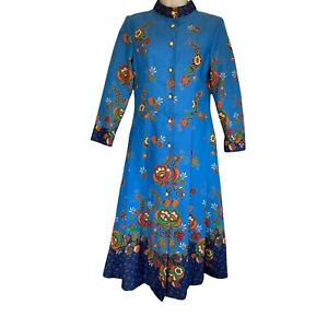 vintage ya yee 70's button up pleated Blue floral Kaftan dress Size S