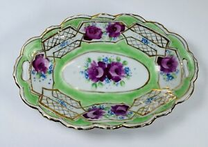 "Beautiful Vintage Oval Porcelain Handles Dish Bowl Floral Gold Gilt Trim 6-1/4"""