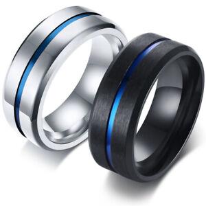 Moderner Herren-Ring silber oder schwarz mit blauem Streifen Edelstahl Geschenk