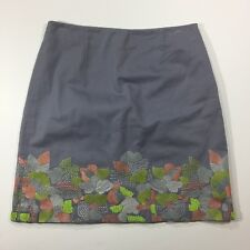 BODEN Size 6P Petite Skirt Lined Beaded Embroidered Gray Grey A Line Neon Floral
