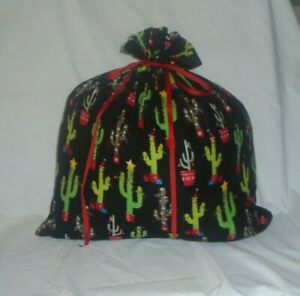 Christmas Cactus Design Homemade Fabric Gift Bag with Attached Ribbon