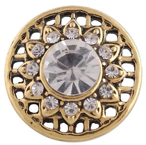Gold Clear Rhinestone Sun Flower 20mm Snap Charm For Ginger Snaps