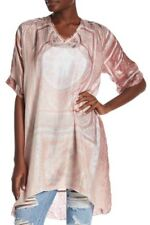 """Johnny Was 36"""" Length Silk Tunic In Bronze~Pewter Smocked Back NWT"""