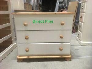 PINE FURNITURE RICHMOND 3 DRAWER CHEST WHITE/ANTIQUE PINE TRIMS NO FLAT PACKS