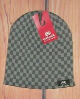 MENS ECKO UNLTD CHECKED GRAY CHARCOAL BEANIE HAT CAP ONE SIZE