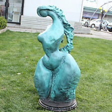 "34"" Western Bronze Marble Long Hair Girl Abstract Human Body Art Deco Statue"