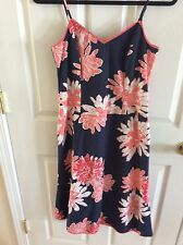 Marks and Spencer Cotton Spaghetti Straps Sundress UK SZ 10 Navy Flower Design