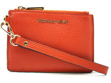 Authentic New Michael Kors Small Pebbled Leather Coin Wallet ID Card Case Orange