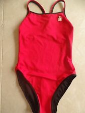 ladies 1 PC ATHLETIC SWIMSUIT red black reversible COMPETITION SIZE 8L 8 LONG