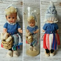 Haly Elcee Souvenir Holland Traditional Dutch Dress Girl Doll In Clogs 1970s