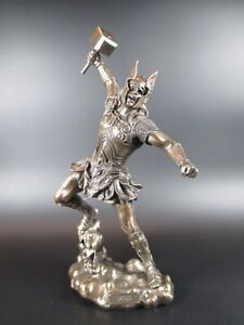 Thor Nordic God of Thunder With Armor, 30cm Brazed Figure, Veronese Collection