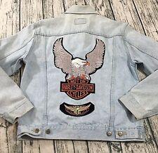 Nuovo Mens Harley Davidson Back Patch Denim Jacket 44L Medium Light Wash Button