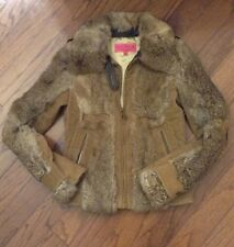 Juicy Couture Vintage Rabbit Fur Jacket Coat Full Zip Size XS S With Fur Collar