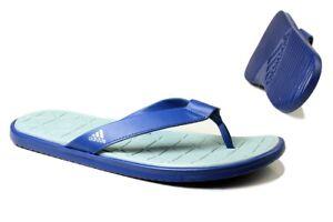 Adidas Mens Flip Flops Slides Sandals Thong - Caverock Cloudfoam - BA8783 - Blue