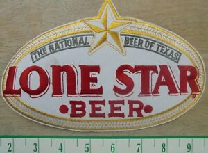"""LONE STAR BEER """"THE NATIONAL BEER OF TEXAS"""" OVAL CLOTH SEW ON PATCH NEW"""