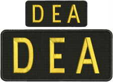 DEA embroidery patches 4x9 and 2x5 hook ON BACK gold