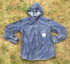 M&S Marks Spencer Blue Jeans Denim Hooded Slim Fit Shirt Age 13