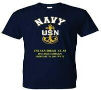 USS SAN DIEGO  CL-53 IWO JIMA 1945 WW2  VINYL & SILKSCREEN NAVY ANCHOR SHIRT.