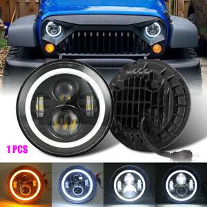 "Brightest 1X 7"" Round LED Headlight Halo Angel Eye DRL For Wrangler TJ/LJ/CJ/JK"